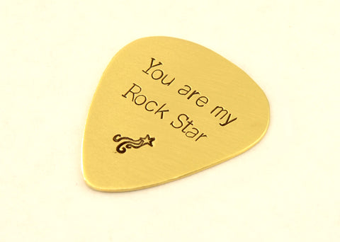Guitar Pick for an Aspiring Rock Star in Brass