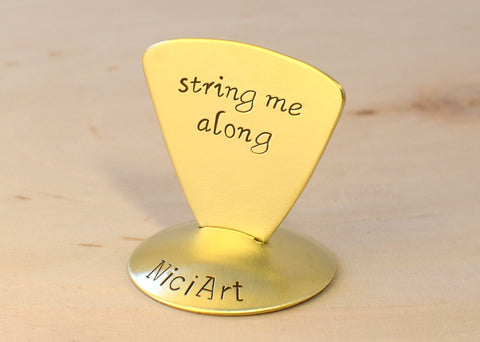 String me Along Triangular Brass Guitar Pick