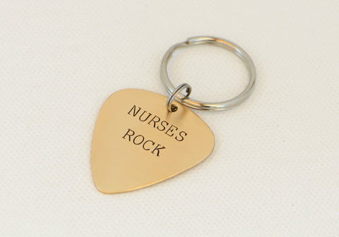 Nurses Rock Guitar Pick Keychain in Bronze