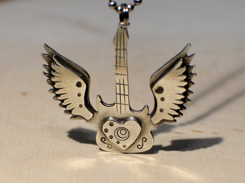 Winged sterling silver guitar necklace for the love of music