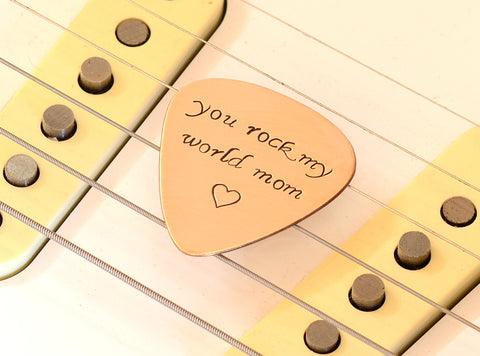 You Rock my World Copper Guitar Pick with Fancy Lettering