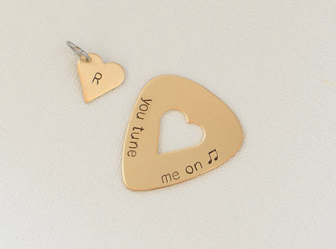 You Tune me on Bronze Guitar Pick and Heart Charm Set