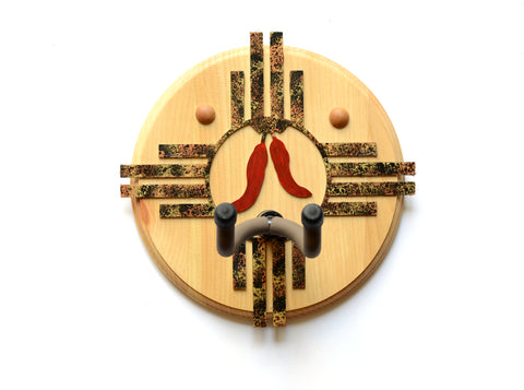 Zia Symbol Cherry Wood Guitar Wall Hanger with New Mexico Chili Peppers