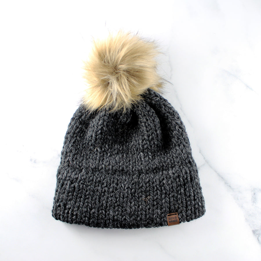 Tuque à pompon charcoal