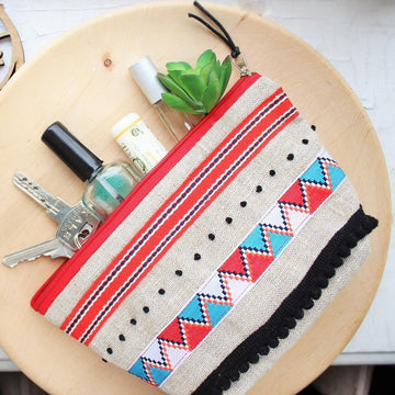 Trousse à maquillage - Boho rouge