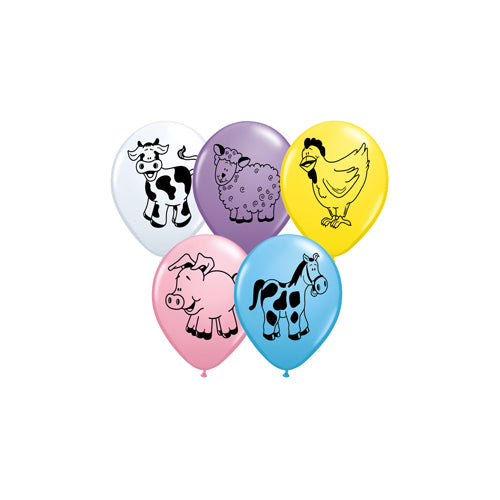 "11"" Qualatex Farm Animals Latex Balloon (Pack of 6)"