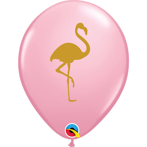 "11"" Qualatex Golden Flamingo Pink Latex Balloon"