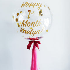 "24"" Bubble Balloon (Customised Wordings + Confetti)"