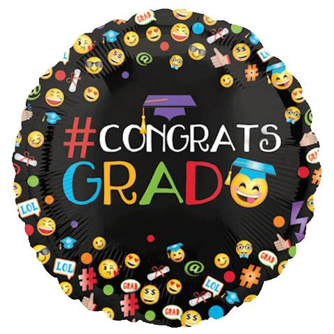 "Anagram Emoji Graduation 18"" Mylar Foil Balloon"