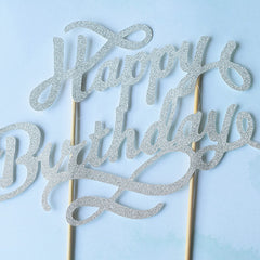 Cake Topper Happy Birthday (Silver)