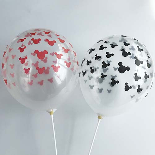 "12"" Clear Latex Balloon with Mickey Mouse Prints"