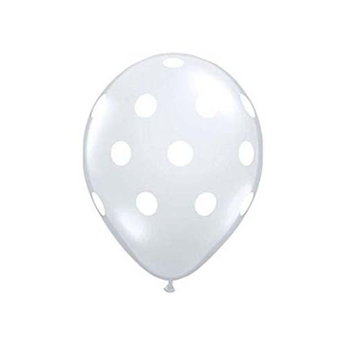 "12"" Clear Latex Balloon with White Polka Dots"