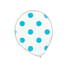"12"" Clear Latex Balloon with Blue Polka Dots"