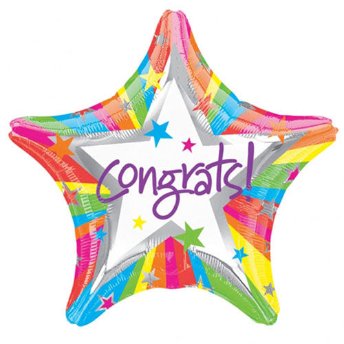 Congratulations Star Shaped Foil Balloon