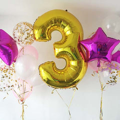 "40"" Foil Number Balloon + 2 Balloon Bouquet (Foil, Confetti, Regular Latex)"