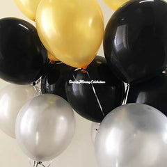 Gold, Black and Silver Balloon Bouquet