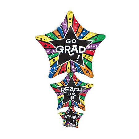"Anagram ""Go Grad Reach for the Stars"" Stacked 42"" Balloon Mylar"