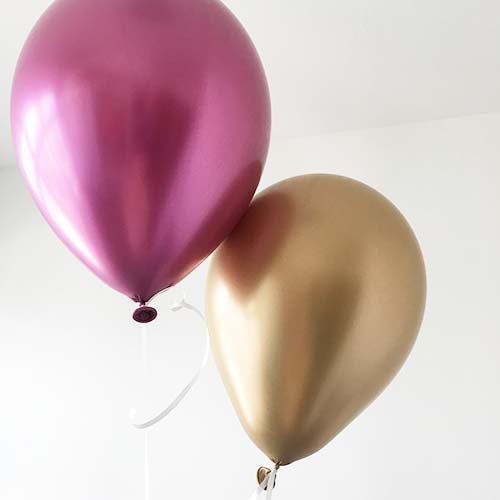 "12"" Metallic Pink Latex Balloon"