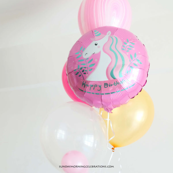 Pink Unicorn Happy Birthday Foil Balloon