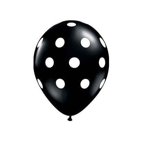 "12"" Polka Dot Latex Balloon Black"