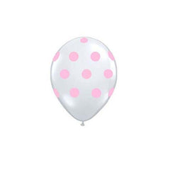 "12"" Clear Latex Balloon with Pink Polka Dots"