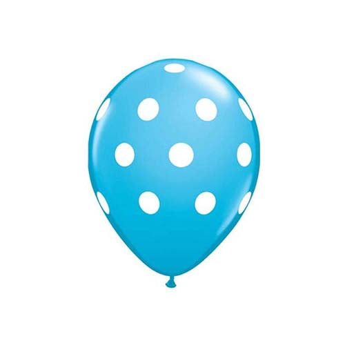 "12"" Polka Dot Latex Balloon Powder Blue"