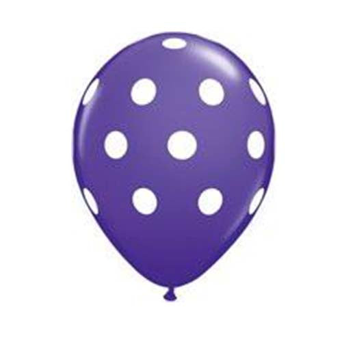 "12"" Polka Dot Latex Balloon Purple"