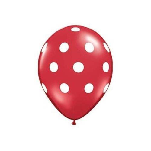 "12"" Polka Dot Latex Balloon Red"