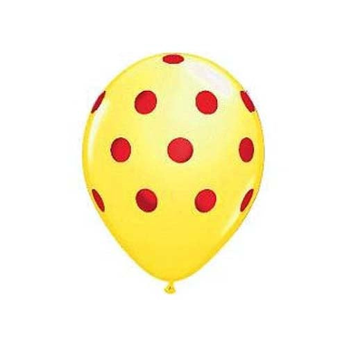 "12"" Polka Dot Latex Balloon Yellow"
