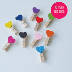 Colourful Heart Wooden Pegs