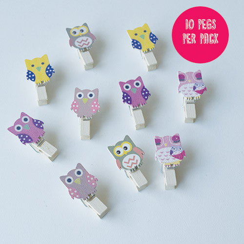 Owl Wooden Pegs