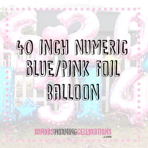 "40"" Blue/Pink Foil Balloons"