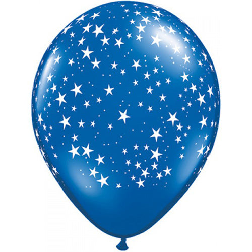 "12"" Latex Balloon Dark Blue with Stars"