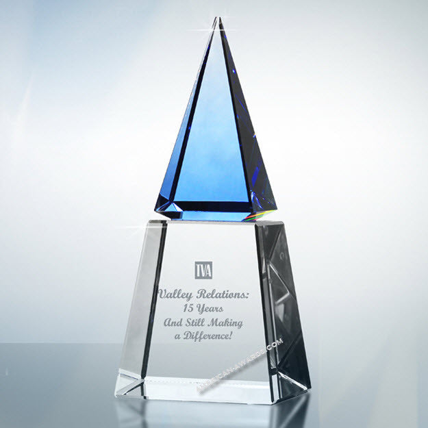 AT2022 Optic Blue Crystal Pyramid Award - American Trophy & Award Company - Los Angeles, CA 90022