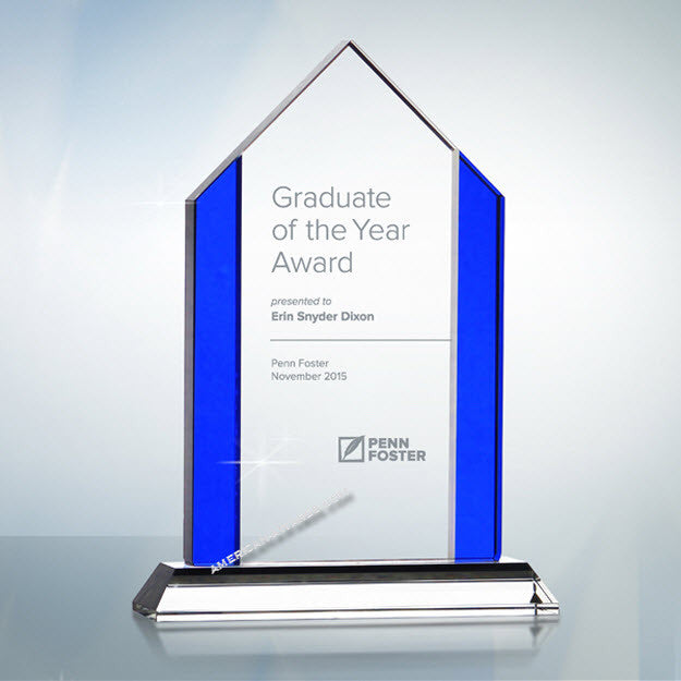 AT-1004 Blue Tone Edge Optic Crystal Award - American Trophy & Award Company - Los Angeles, CA 90022