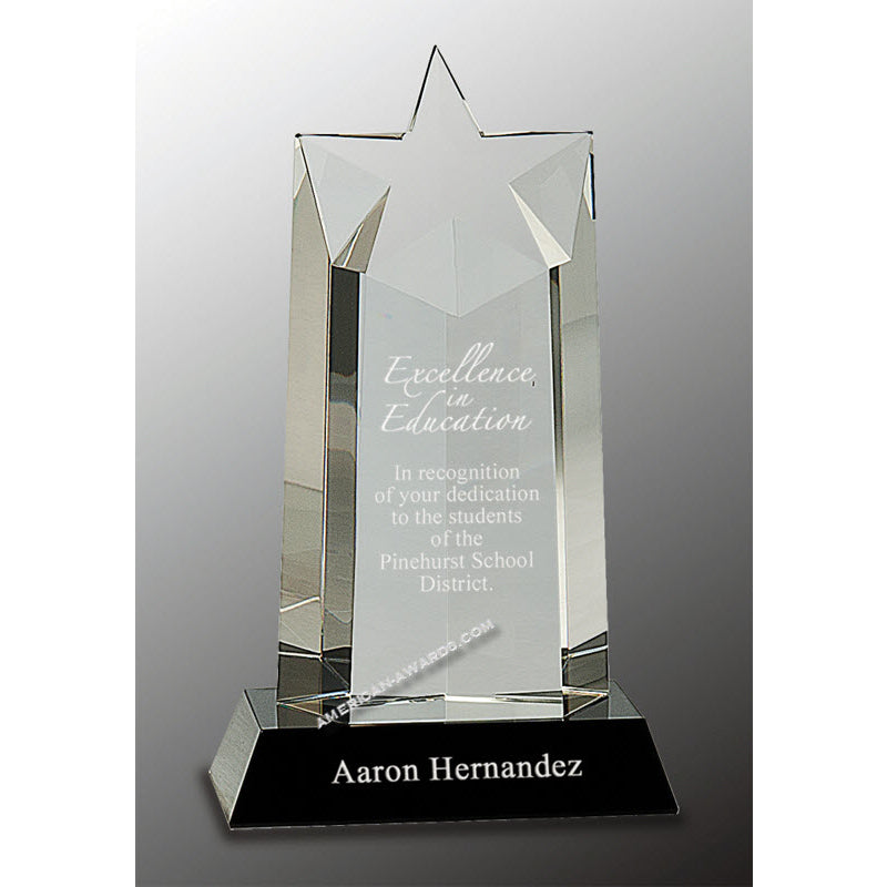 CRY010 Optic Crystal Rising Star Award - American Trophy & Award Company - Los Angeles, CA 90022