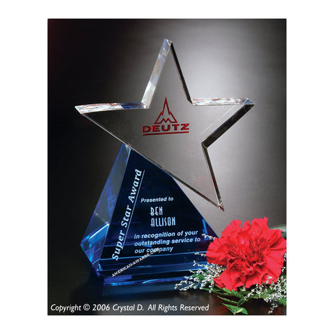 Crystal Azure Star Award|6436 for $ 138.00 at American Trophy & Award Company - Los Angeles, CA 90022