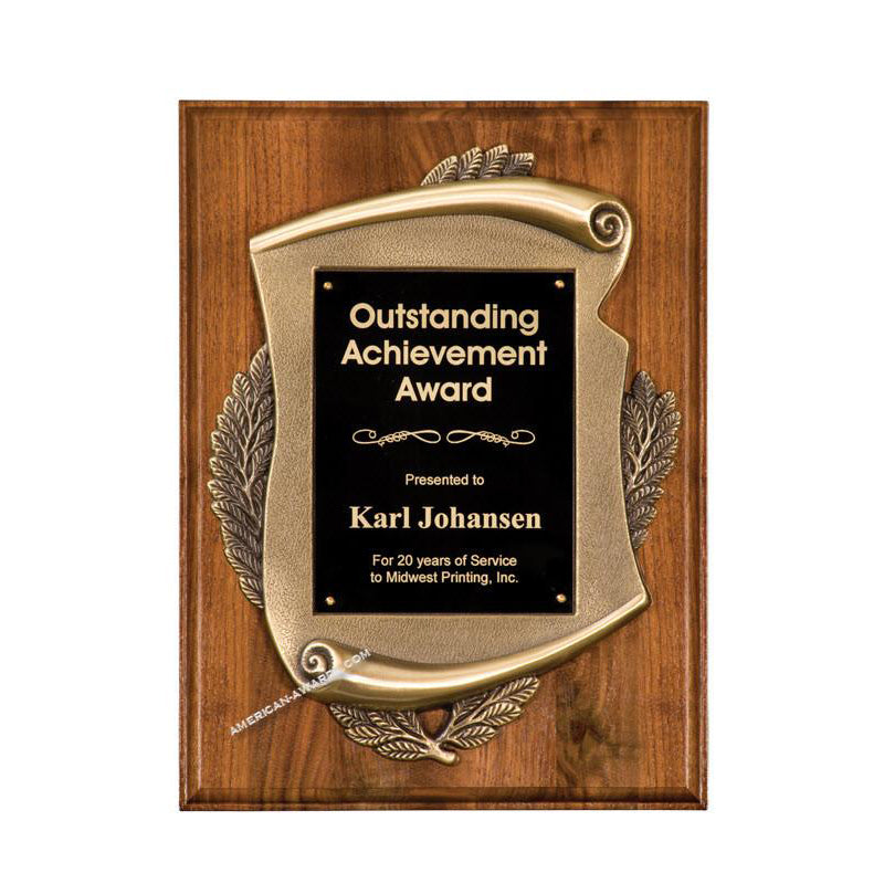 Premium Walnut Scroll Award Plaque - American Trophy & Award Company - Los Angeles, CA 90022