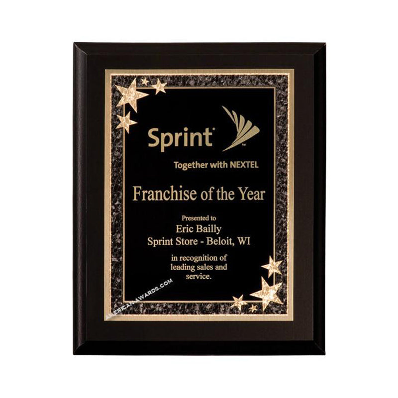 6C801 Ebony finish starburst recognition plaque - American Trophy & Award Company - Los Angeles, CA 90022