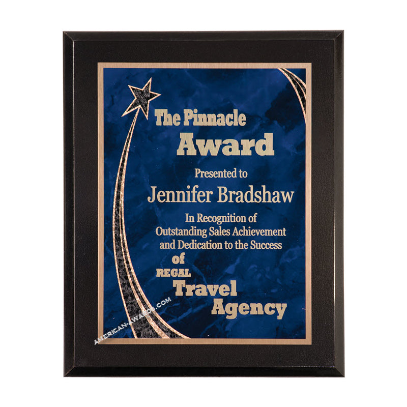 6C802 Ebony finish rising star award plaque - American Trophy & Award Company - Los Angeles, CA 90022