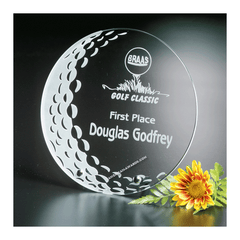 7058 Starfire clear glass golf trophy - American Trophy & Award Company - Los Angeles, CA 90022