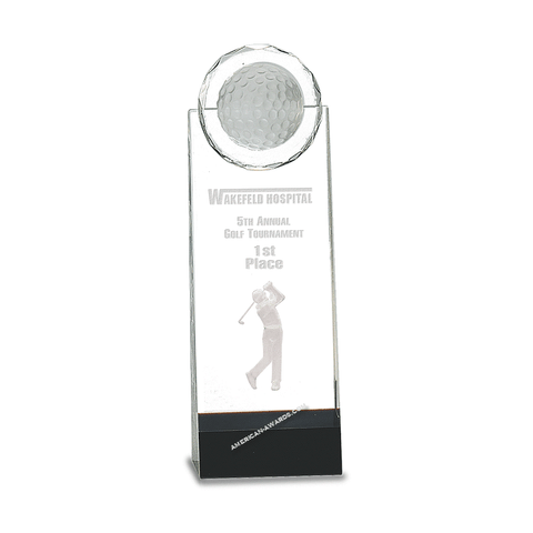 Crystal Golf Ball Tower Award|Style 7S3004