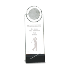 7S3002 Optic Crystal Golf Ball Tower Trophy - American Trophy & Award Company - Los Angeles, CA 90022