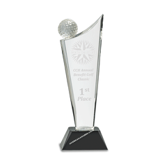 7S3101  Optic Crystal Golf Wave Award - American Trophy & Award Company - Los Angeles, CA 90022