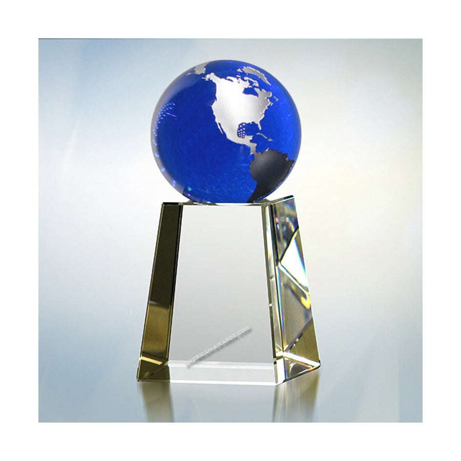 A1015 Cobalt Blue world Globe on tapered base Trophy - American Trophy & Award Company - Los Angeles, CA 90022