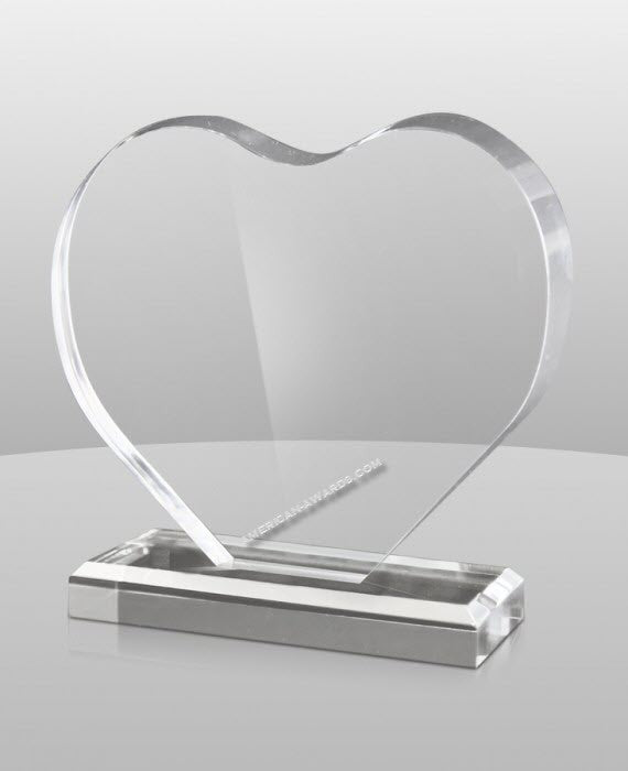 AT-878 Acrylic Heart Shaped Award - American Trophy & Award Company - Los Angeles, CA 90022
