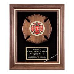 AT1 Walnut Maltese Cross Plaque - American Trophy & Award Company - Los Angeles, CA 90022