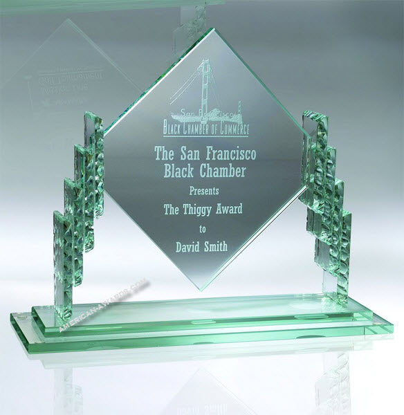AT488 | Jade Glass Diamond Award for $ 105.00 at American Trophy & Award Company - Los Angeles, CA 90022