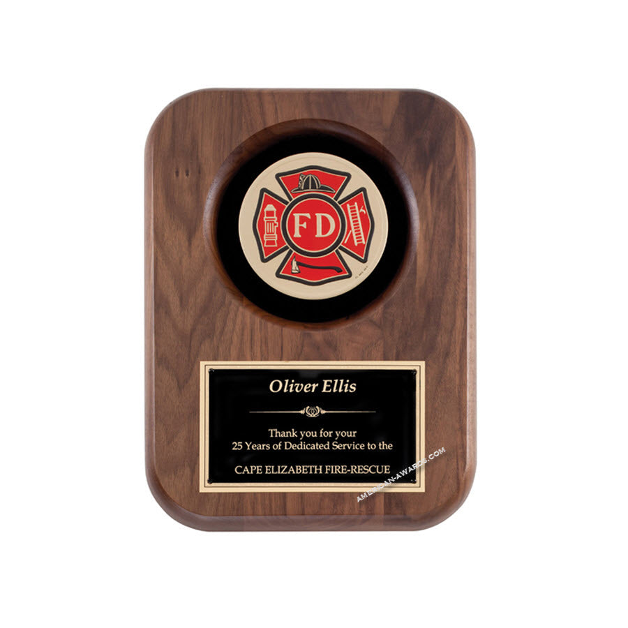 AT6 Walnut Fireman Plaque - American Trophy & Award Company - Los Angeles, CA 90022