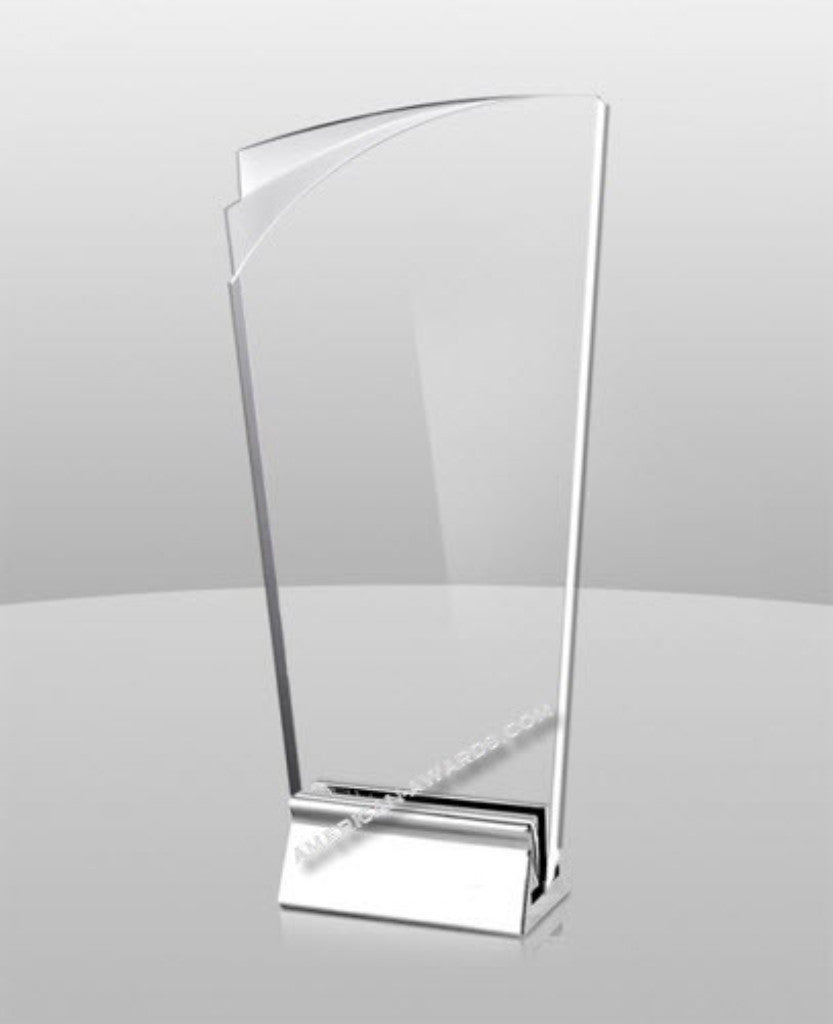 AT-824 Clear Acrylic & Metal base Award - American Trophy & Award Company - Los Angeles, CA 90022